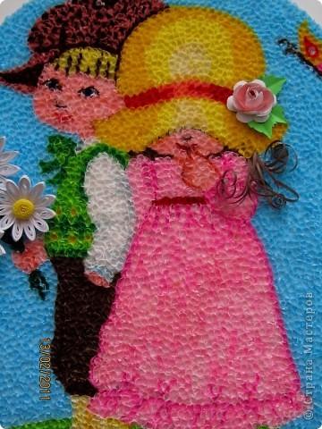 """Здравствуйте, уважаемые Мастера и Мастерицы!!! Сегодня, накануне праздника всех влюбленных, я к вам с торцовочкой, которую назвала """"Первая любовь"""". Сделала я эту картинку вдохновившись одной работой художницы Сары Кей.  Размер работы - 200*300мм. фото 4"""