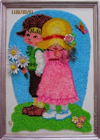 """Здравствуйте, уважаемые Мастера и Мастерицы!!! Сегодня, накануне праздника всех влюбленных, я к вам с торцовочкой, которую назвала """"Первая любовь"""". Сделала я эту картинку вдохновившись одной работой художницы Сары Кей.  Размер работы - 200*300мм. фото 1"""