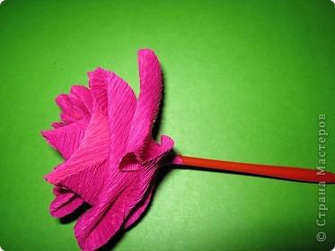 Чтобы сделать розочку из гофрированной бумаги, нам понадобится: бумага, ножницы, клей ПВА, спица или зубочистка фото 8