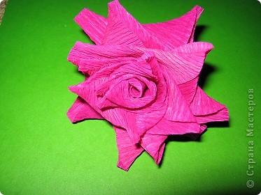 Чтобы сделать розочку из гофрированной бумаги, нам понадобится: бумага, ножницы, клей ПВА, спица или зубочистка фото 9
