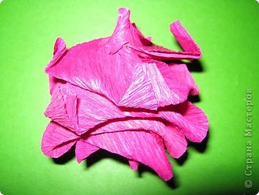 Чтобы сделать розочку из гофрированной бумаги, нам понадобится: бумага, ножницы, клей ПВА, спица или зубочистка фото 10