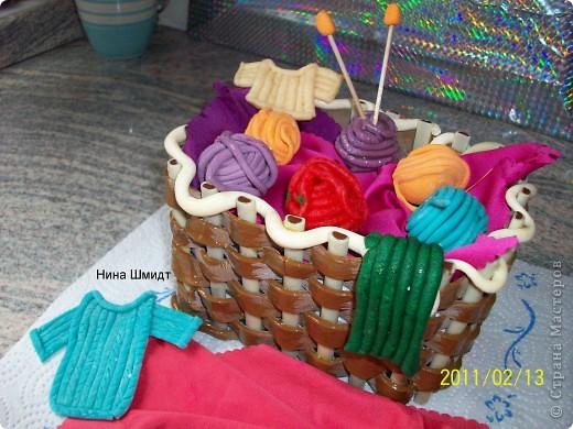 Корзинка и клубочки из мастики. фото 3