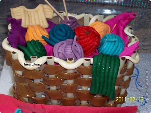Корзинка и клубочки из мастики. фото 1