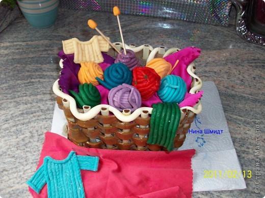 Корзинка и клубочки из мастики. фото 2