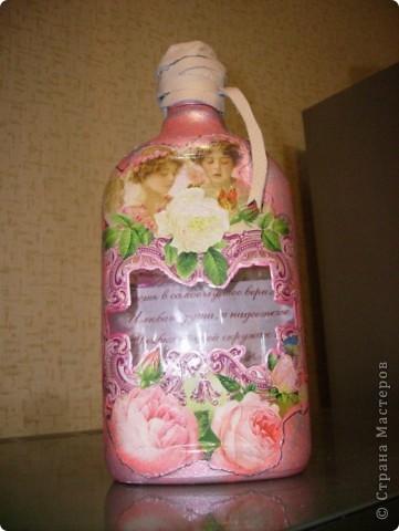 Эту бутылочку хочу подарить на день рождения как дополнение к основному подарку. Но вот не знаю , как она выглядит со стороны? Это моя первая работа. Откоментируйте пожалуйста. фото 1