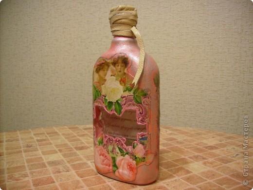 Эту бутылочку хочу подарить на день рождения как дополнение к основному подарку. Но вот не знаю , как она выглядит со стороны? Это моя первая работа. Откоментируйте пожалуйста. фото 2