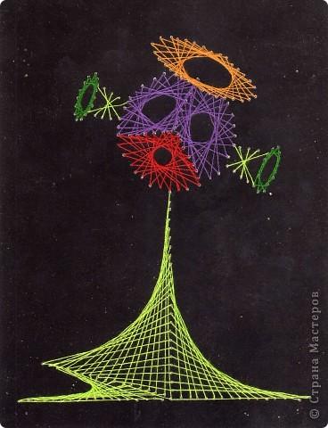 Звёздное небо. Когда начала обучаться технике изонити, подмала, что соединить все приёмы можно, изобразив звёзды. Так появилась эта работа. Очень кстати пришёлся чёрный картон, который часто оседает мёртвым грузом. фото 2