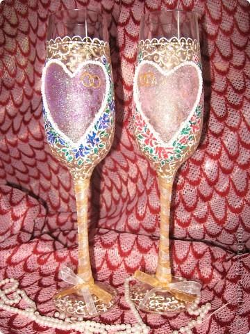 Проба пера! Свадебные бокалы,ручная роспись. фото 3