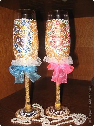 Проба пера! Свадебные бокалы,ручная роспись. фото 2
