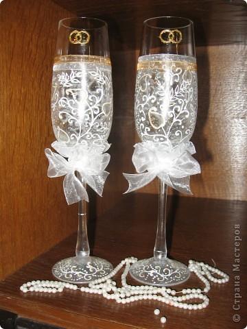 Проба пера! Свадебные бокалы,ручная роспись. фото 4