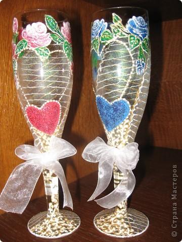 Проба пера! Свадебные бокалы,ручная роспись. фото 5