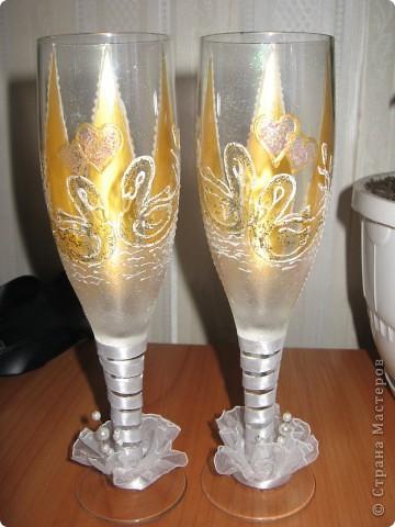 Проба пера! Свадебные бокалы,ручная роспись. фото 1