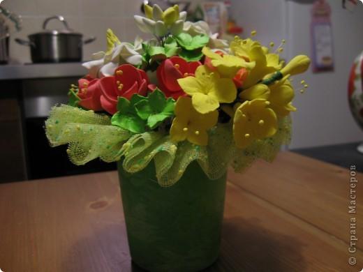 """Этот букет собрала из """"несуществующих"""" цветов, за исключением ранункулюсов (Спасибо Юлии П_и_Л за МК) Не пыталась скопировать натуральность растений, просто руки лепили сами (вдохновленные вашими отзывами о предыдущих работах))) фото 5"""