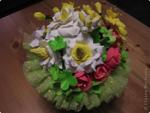 """Этот букет собрала из """"несуществующих"""" цветов, за исключением ранункулюсов (Спасибо Юлии П_и_Л за МК) Не пыталась скопировать натуральность растений, просто руки лепили сами (вдохновленные вашими отзывами о предыдущих работах))) фото 4"""