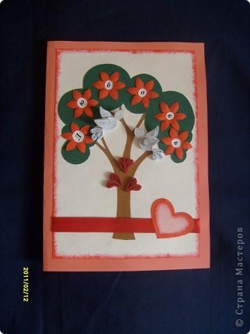 Дерево любви. Моя валентинка в подарок молодой семейной паре. Очень хотелось сделать им именно дерево. Идею с голубками подсмотрела у Ольги Ольшак, спасибо ей за это огромнейшее.
