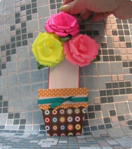 необычная открытка - горшочек с цветами фото 3
