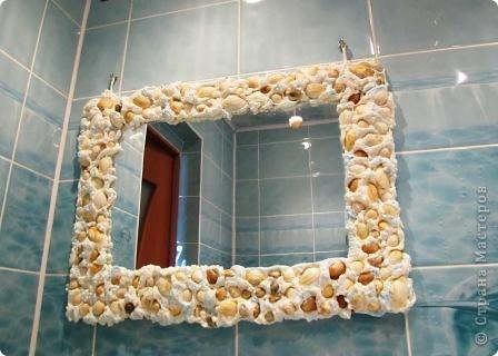 """Вот такое зеркало получилось для моей """"подводной"""" ванной комнаты.  фото 7"""
