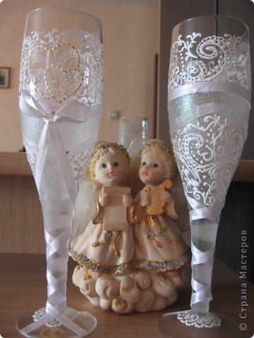 Проба пера! Свадебные бокалы,ручная роспись. фото 6