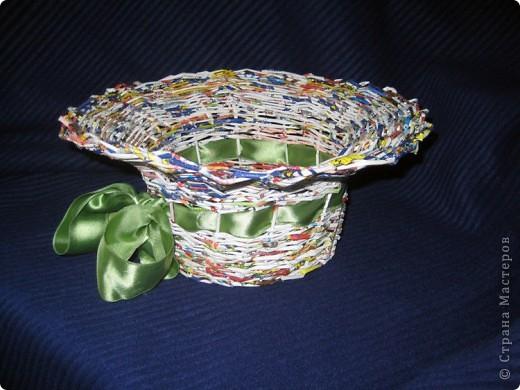 Плела корзинку, а кажется получилась шляпа. Ленточку просто примерила, так как еще пока не определилась, красить или просто лаком покрыть? фото 2