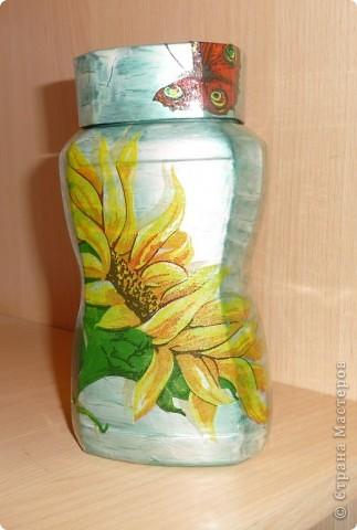 Оформила баночку маме на Татьянин день для зелёного чая.А с подсолнухами потому, что она очень любит подсолнухи. фото 2