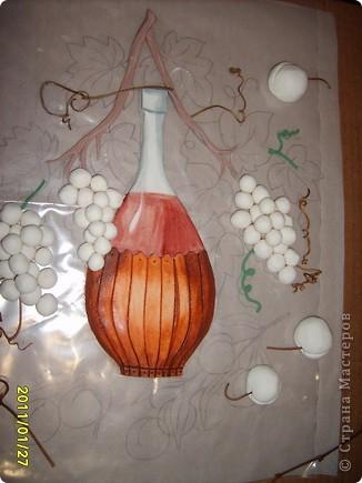 вино,виноград и абрикосы.Картина на кухню.Лепится легко,единственный минус,из за большого размера сложно переворачивать фото 6