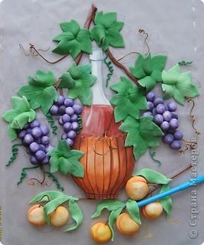 вино,виноград и абрикосы.Картина на кухню.Лепится легко,единственный минус,из за большого размера сложно переворачивать фото 7