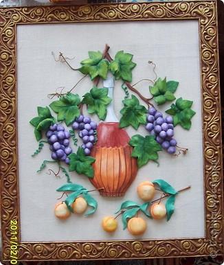 вино,виноград и абрикосы.Картина на кухню.Лепится легко,единственный минус,из за большого размера сложно переворачивать фото 3