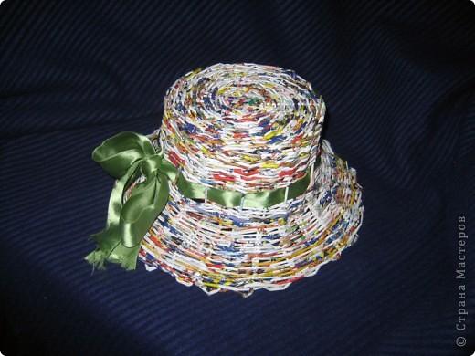 Плела корзинку, а кажется получилась шляпа. Ленточку просто примерила, так как еще пока не определилась, красить или просто лаком покрыть? фото 1