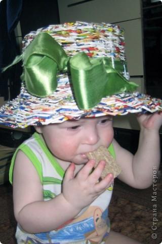 Плела корзинку, а кажется получилась шляпа. Ленточку просто примерила, так как еще пока не определилась, красить или просто лаком покрыть? фото 3