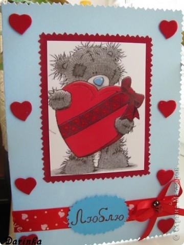Не знаю почему,но День Влюблённых у меня ассоциируется с мишками Тедди.Поэтому для любимого мужа сделала такую открыточку.