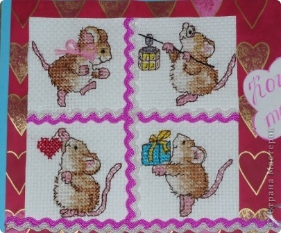 """Очень понравились мышки из журнала """"Вышиваю крестиком"""", придумали с Настей использовать вышивку для открытки. фото 2"""