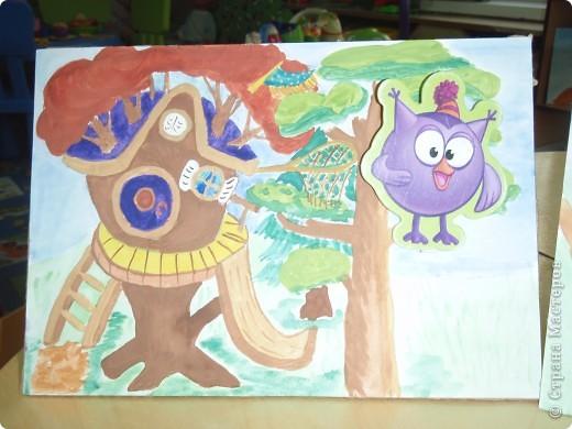 Домик Совуньи, сама Совунья это картонная картинка которая осталась у меня от детской игры-вырубки, преклеена к палочке для мороженого можно вытащить и переместить в гости к другому смешарику. фото 1
