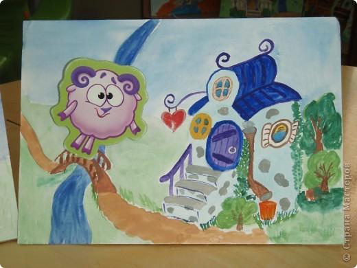 Домик Совуньи, сама Совунья это картонная картинка которая осталась у меня от детской игры-вырубки, преклеена к палочке для мороженого можно вытащить и переместить в гости к другому смешарику. фото 2