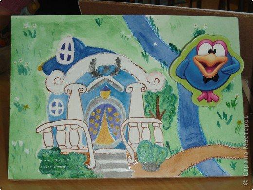 Домик Совуньи, сама Совунья это картонная картинка которая осталась у меня от детской игры-вырубки, преклеена к палочке для мороженого можно вытащить и переместить в гости к другому смешарику. фото 4