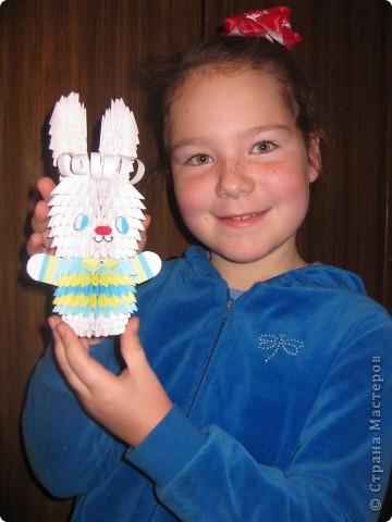 Вот и мы с дочкой делали зайчика к Новому году в школу.  Спасибо Татьяне Николаевне за МК!!!  фото 1