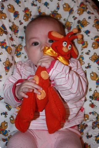 Вот она. Самая первая игрушка сшитая моей тогда еще 2-х месячной дочке. И пожалуй самая ее любимая игрушка.  Сшит из красной  махровой простыни,  по ощупь просто супер. фото 1