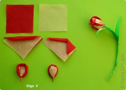 Продолжая тему салфеточных цветов, предлагаю сделать тюльпаны из обычных бумажных салфеток. Такие одноцветные и двухцветные тюльпаны можно сделать в школе с детьми для открыток, плакатов, стенгазет. Тюльпаны можно просто поставить в вазу. фото 3