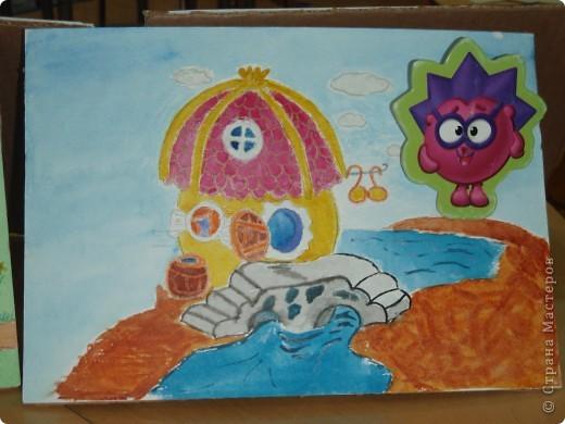 Домик Совуньи, сама Совунья это картонная картинка которая осталась у меня от детской игры-вырубки, преклеена к палочке для мороженого можно вытащить и переместить в гости к другому смешарику. фото 5