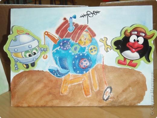 Домик Совуньи, сама Совунья это картонная картинка которая осталась у меня от детской игры-вырубки, преклеена к палочке для мороженого можно вытащить и переместить в гости к другому смешарику. фото 7