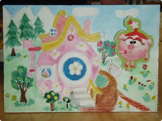 Домик Совуньи, сама Совунья это картонная картинка которая осталась у меня от детской игры-вырубки, преклеена к палочке для мороженого можно вытащить и переместить в гости к другому смешарику. фото 8