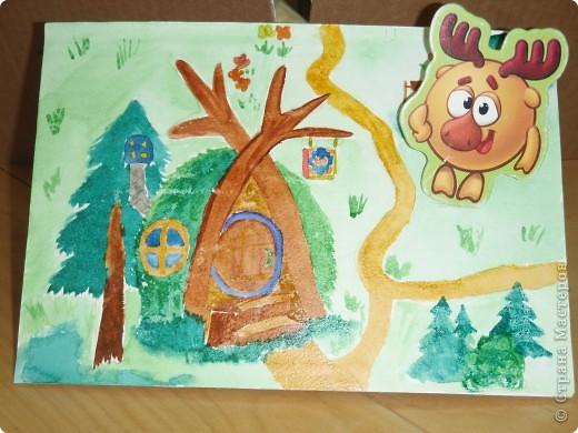 Домик Совуньи, сама Совунья это картонная картинка которая осталась у меня от детской игры-вырубки, преклеена к палочке для мороженого можно вытащить и переместить в гости к другому смешарику. фото 9