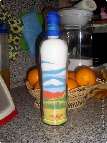 Бутылка с цветной солью (песком) фото 2