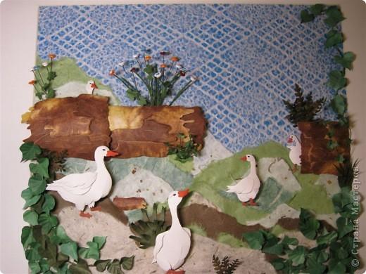 """Работа называется """"Гуси"""", размер 40 на 45 см.  Картина навеяла летом в деревне, захотелось солнышка и тепла.  фото 1"""