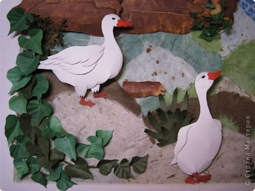 """Работа называется """"Гуси"""", размер 40 на 45 см.  Картина навеяла летом в деревне, захотелось солнышка и тепла.  фото 3"""