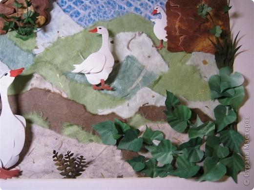 """Работа называется """"Гуси"""", размер 40 на 45 см.  Картина навеяла летом в деревне, захотелось солнышка и тепла.  фото 2"""