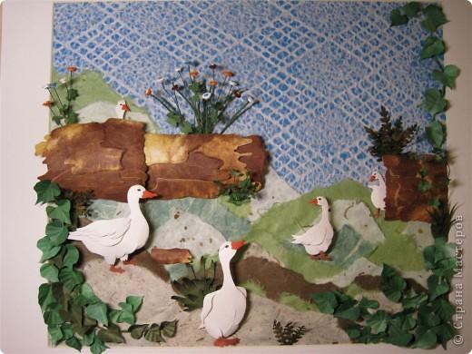 """Работа называется """"Гуси"""", размер 40 на 45 см.  Картина навеяла летом в деревне, захотелось солнышка и тепла.  фото 5"""