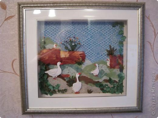 """Работа называется """"Гуси"""", размер 40 на 45 см.  Картина навеяла летом в деревне, захотелось солнышка и тепла.  фото 6"""