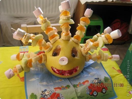 Памело, груша, яблоко, мандарин, банан, Суфле. фото 1