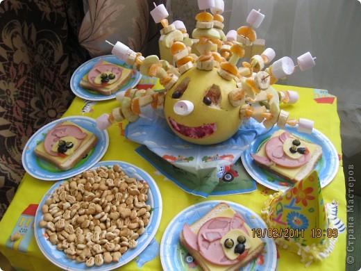Памело, груша, яблоко, мандарин, банан, Суфле. фото 2