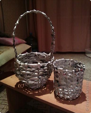 Мои первые работы по плетению корзинок. фото 1